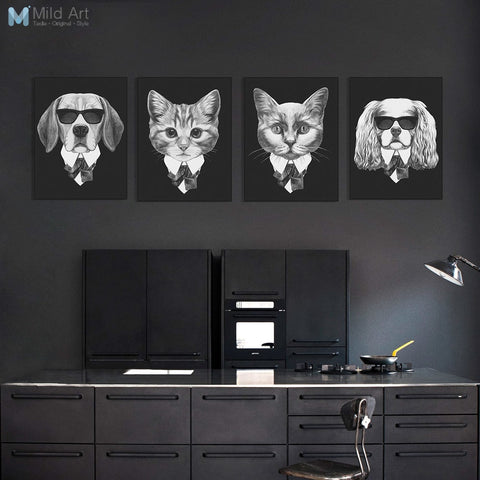 Black and White Fashion Mafia Hipster Animals Dog Cat Posters Prints Vintage Nordic Wall Art Pictures Home Decor Canvas Painting