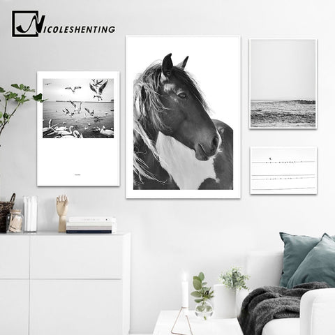 NICOLESHENTING Horse Sea Wall Art canvas Poster Landscape Print Minimalist Nordic Decoration Painting Decorative Picture