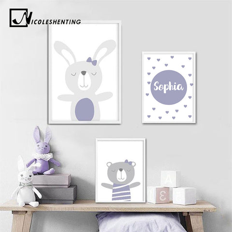 Custom Name Poster Baby Nursery Wall Art Canvas Poster Cartoon Prints Painting Nordic Kids Decoration Picture Girl Bedroom Decor