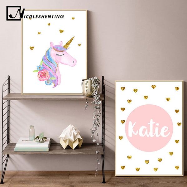 Custom Name Prints Unicorn Nursery Wall Art Canvas Posters Painting Nordic Kids Decoration Pictures Bedroom Decor Baby Gift