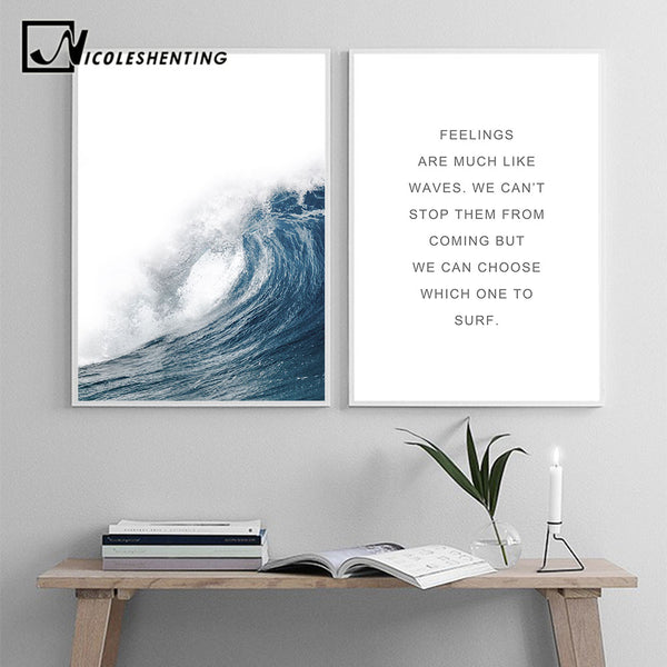 Ocean Sea Waves Canvas Nordic Posters Prints Landscape Scandinavian Style Wall Art Painting Decoration Pictures for Living Room