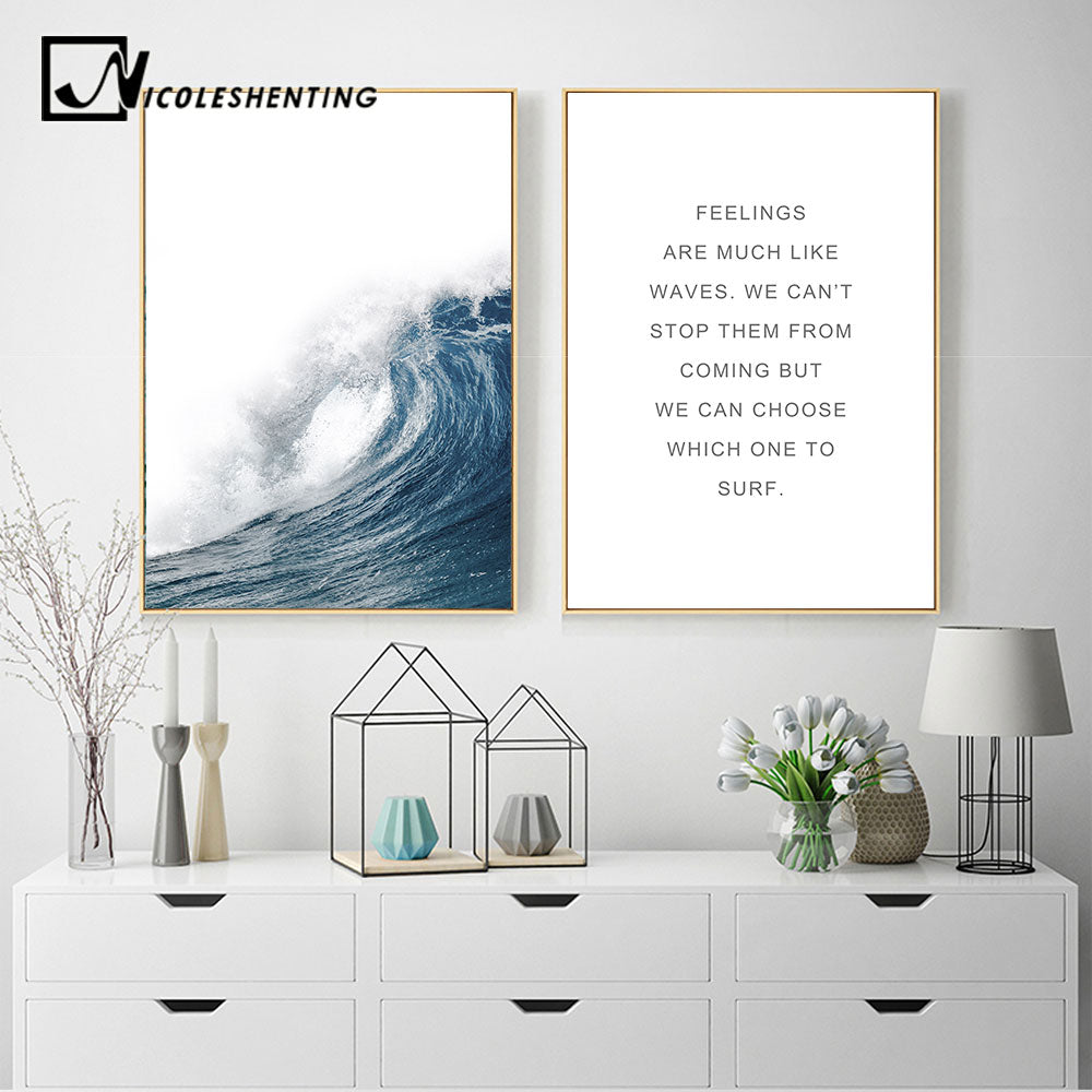 Nordic Decoration Wall Art Canvas Poster Scandinavian Ocean Landscape Prints