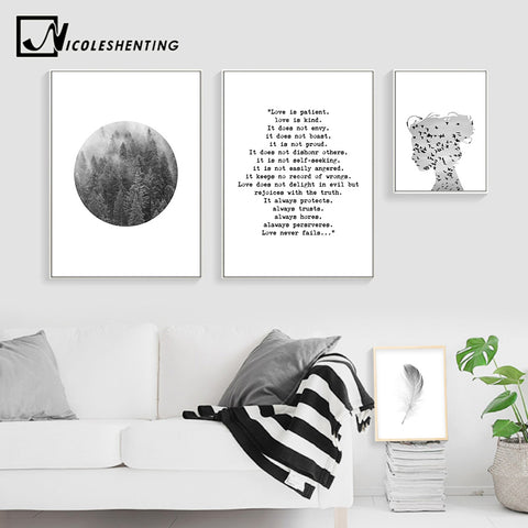 Scandinavian Posters and Prints Forest Feather Wall Art Canvas Painting Abstract Nordic Decoration Picture Modern Home Decor