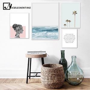 Scandinavian Style Ocean Waves Palm Tree Nordic Poster Landscape Wall Art Canvas Prints Painting Decoration Pictures Home Decor