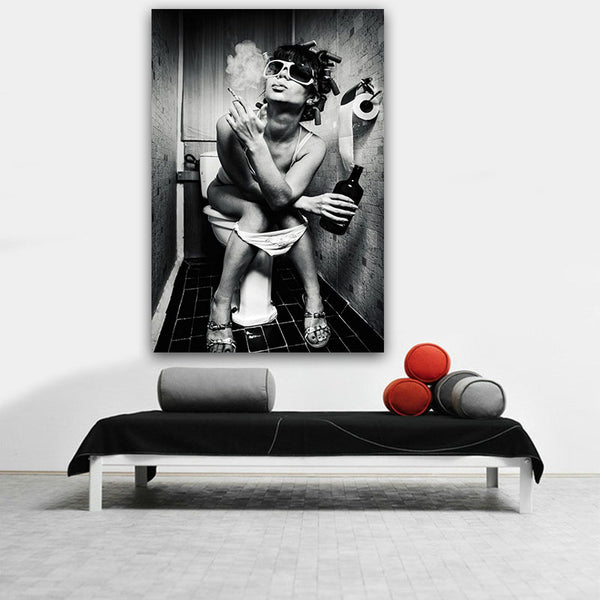 GOODECOR Modern Black White Sexy Charming Woman Beauty Canvas Painting Toilet Pub Bar Home Decoration Art Poster Wall Pictures