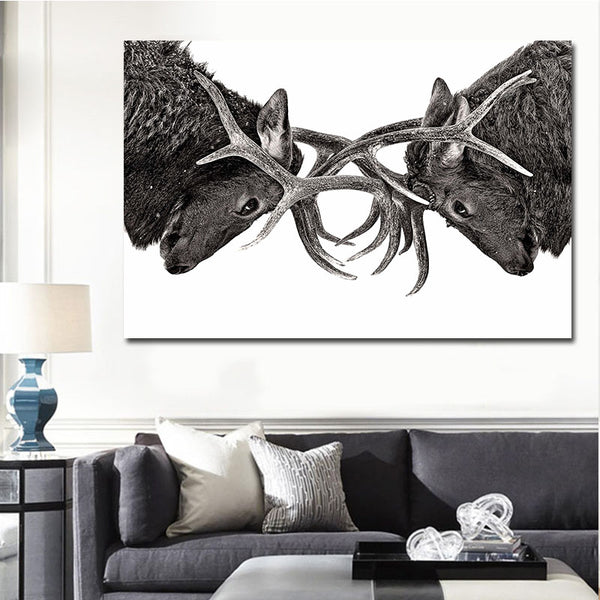 Black White Canvas Art Animal Canvas pictures Elk Art Painting for Livingroom Bedroom Decoration Unframed Prints