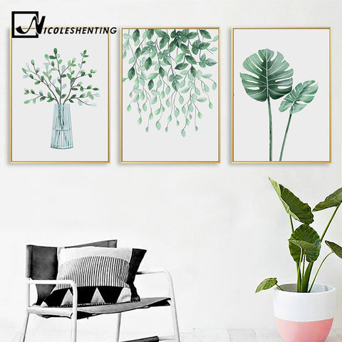 Scandinavian Style Watercolor Plant Leaf Nordic Poster Nature Wall Art Canvas Prints Painting Decoration Pictures Home Decor
