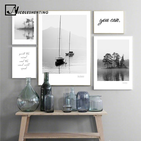 Scandinavian Landscape Canvas Poster Nordic Style Lake Boat Forest Nature Wall Art Print Painting Decoration Pictures Home Decor