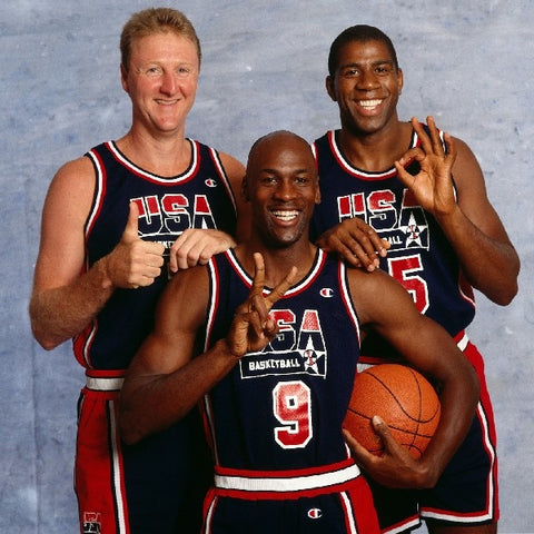1992 USA Dream Team Michael Jordan Larry Bird, Magic son Classic basketball Poster Fabric silk Print WALL ART