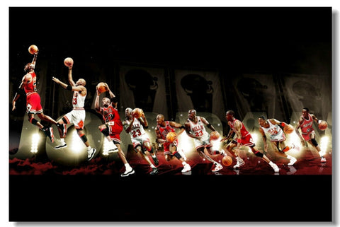 Michael Jordan MJ 23 basketball Poster Silk Art Wall poster 12x18 inch Prints Decor
