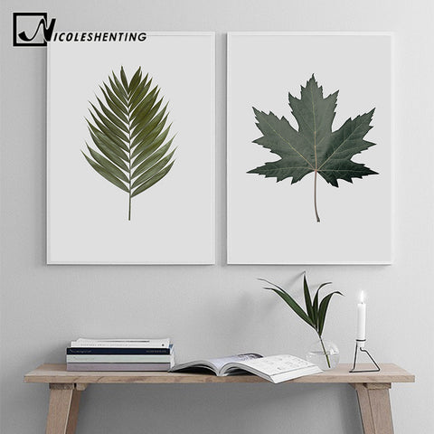 Tropical Plant Green Leaf Wall Art Canvas Poster Nordic Minimalist Print Painting Wall Picture for Living Room Home Decoration