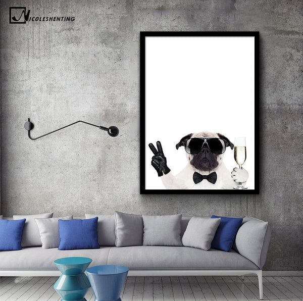Kawaii Glasses Dogs Minimalist Art Canvas Posters and Prints Painting Animal Funny Picture Modern Home Room Wall Decoration
