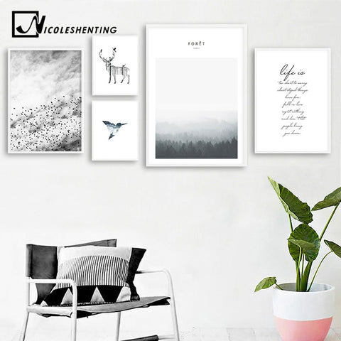 Scandinavian Deer Forest Landscape Canvas Poster Life Quote Nordic Style Wall Art Print Painting Decoration Picture Home Decor