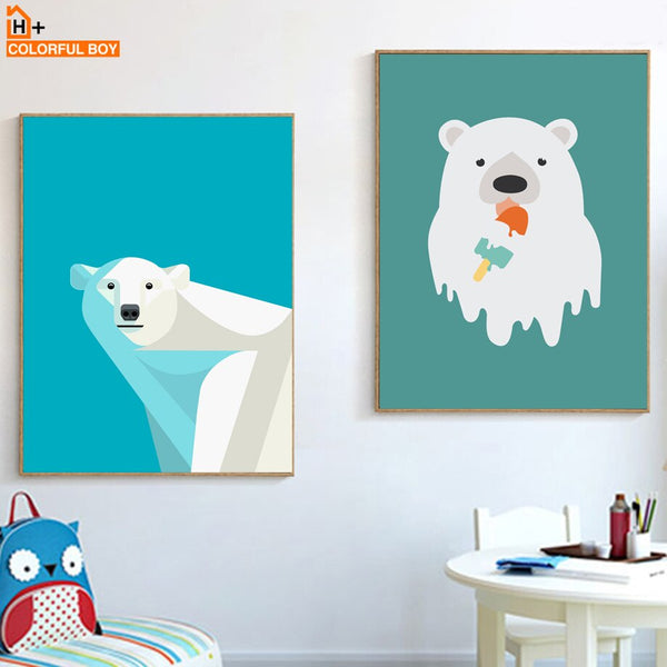 White Polar Bear Ice Cream Wall Art Print Canvas Painting Nordic Posters And Prints Animals Wall Pictures Baby Kids Room Decor
