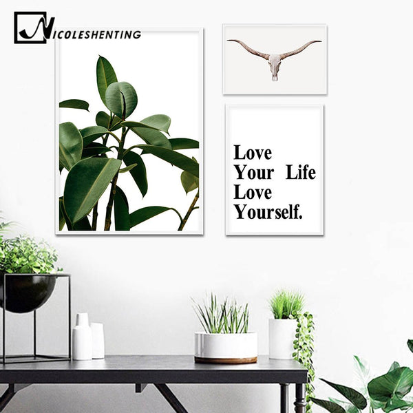 Scandinavian Green Leaf Wall Art Canvas Poster Nordic Minimalist Print Painting Life Quote Motivation Pictures Living Room Decor