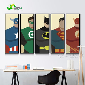 5 Panel Super Heros Canvas Painting Poster And Print Batman Superhero Decoration For Kids Room Decoration Wall Picture Unframed
