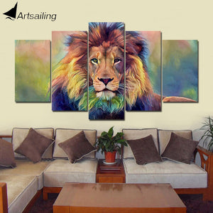 5 pieces Wall Art Picture Gift Lion Home Decoration Canvas Print painting beautiful for living room printed on canvas