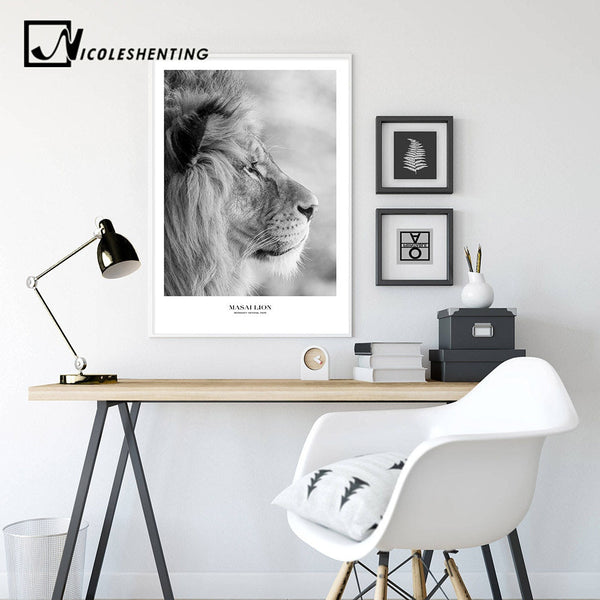 Scandinavian Black White Poster Nordic Canvas Wall Art Print Africa Animal Lion Painting Decorative Picture Home Decoration
