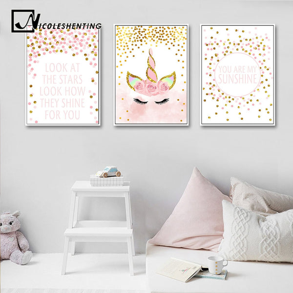 Pink Unicorn Poster Nursery Quotes Art Wall Canvas Print Painting Nordic Style Decorative Picture Baby Girl Bedroom Decoration