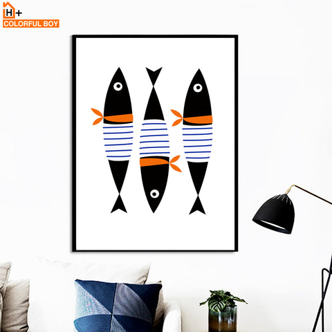 Fish Bow Tie Wall Art Canvas Painting  Posters And Prints Nordic Poster Animals Wall Pictures For Living Room Kids Room Decor