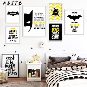 Batman Mask Nursery Quotes Wall Art Canvas Posters and Prints Cartoon Painting Decorative Pictures Boys Kids Bedroom Decoration