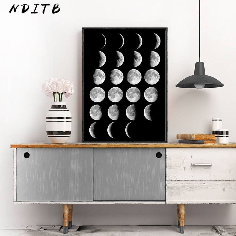 Moon Phase Canvas Poster Abstract Art Prints Wall Picture Home Decor