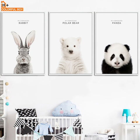Rabbit Panda Bear Animals Wall Art Canvas Painting Nordic Posters And Prints Decoration Wall Pictures Baby Kids Room Home Decor
