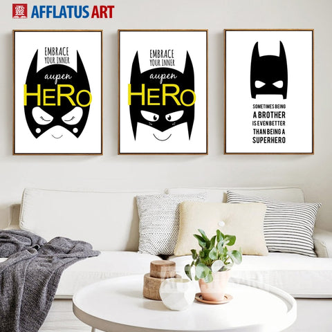 AFFLATUS Superhero Batman Posters And Prints Wall Art Canvas Painting Nordic Black White Wall Pictures For Living Room Boy Decor