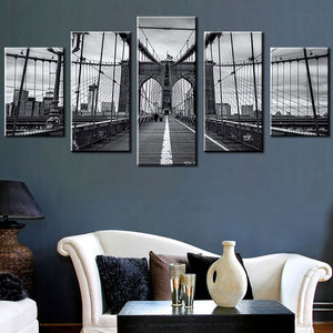 Abstract Wall Art Pictures 5 Panel Black White Brooklyn Bridge Home Decoration Posters Frame Living Room HD Printed Painting