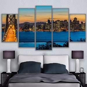 Wall Modular Picture Home Decoration Canvas Art 5 Panel San Francisco Bay Bridges Living Room Printed Modern Paintings