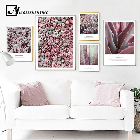 Rose Flower Plant Wall Art Print Nordic Canvas Poster Floral Painting Scandinavian Decorative Picture Modern Living Room Decor