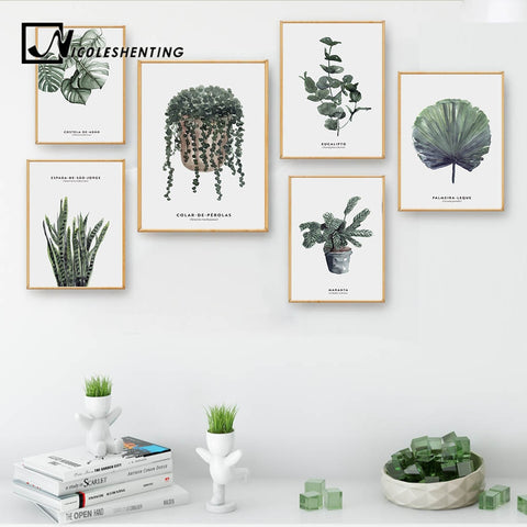 Watercolor Plants Leaves Vintage Posters Nordic Wall Art Canvas Prints Painting Wall Pictures for Living Room Modern Home Decor