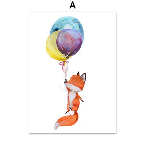 Baby Rabbit Fox Balloon Wall Art Canvas Painting Nordic Posters And Prints Cartoon Animals Wall Pictures Baby Kids Room Decor