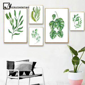 Watercolor Tropical Plants Leaves Art Canvas Poster Nordic Style Painting Wall Picture Print Home Living Room Decoration