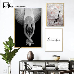 Flower Ballet Dancing Woman Wall Art Canvas Print Nordic Poster Quotes Painting Decorative Picture Modern Living Room Decoration