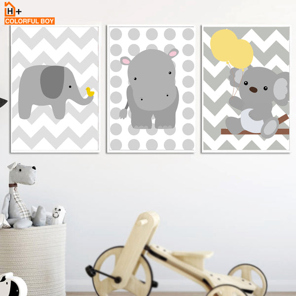 Cartoon Baby Bear Elephant Hippo Wall Art Canvas Painting Nordic Posters And Prints Animal Pop Art Wall Pictures Kids Room Decor