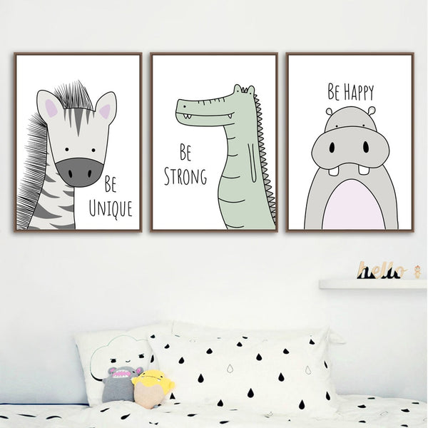Zebra Hippo Giraffe Lion Crocodile Nursery Wall Art Canvas Painting