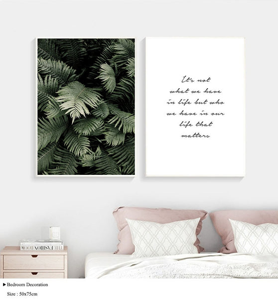 Green Plant Leaf Canvas Wall Poster Nordic Motivational Quotes Print Scandinavian Art Painting Decoration Picture Home Decor