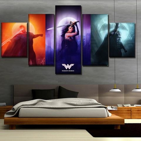 Canvas Print Artwork 5 Pieces Justice League Superman And Wonder Woman And Batman Painting Home Decor Wall Art Unique Poster
