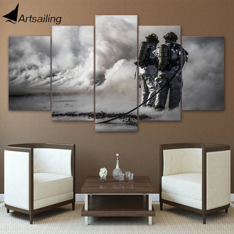 5 pieces Wall Art Picture Gift Firefighter Home Decoration Canvas Print painting beautiful for living room printed on canvas