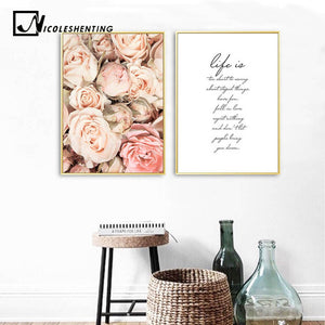 Flower Canvas Painting Wall Art Poster Nordic Motivational Quotes Floral Print Scandinavian Decoration Picture Living Room Decor