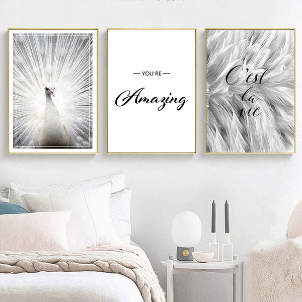 Scandinavian Peacock Canvas Painting Feather Wall Art Poster Abstract Motivation Print Minimalist Nordic Decoration Picture