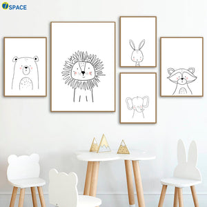 Lion Rabbit Bear Raccoon Wall Art Canvas Painting Nordic Posters And Prints