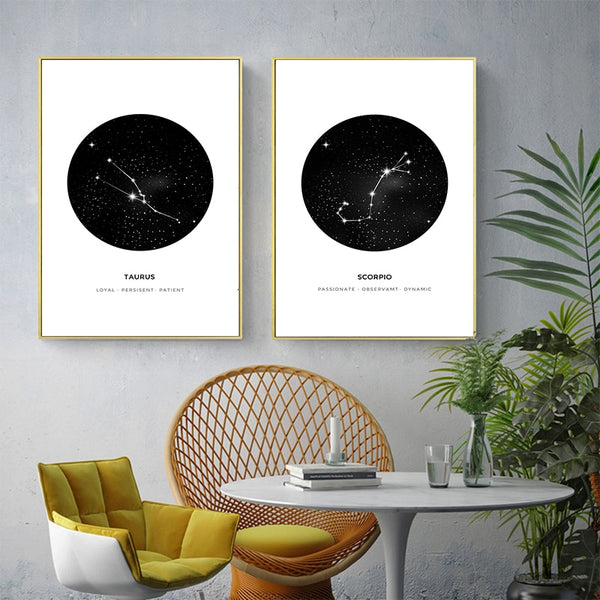 Nordic Simple Twelve Constellation Black And White Abstract Art Picture Poster Canvas Painting Living Room Home Decoration A2 A3