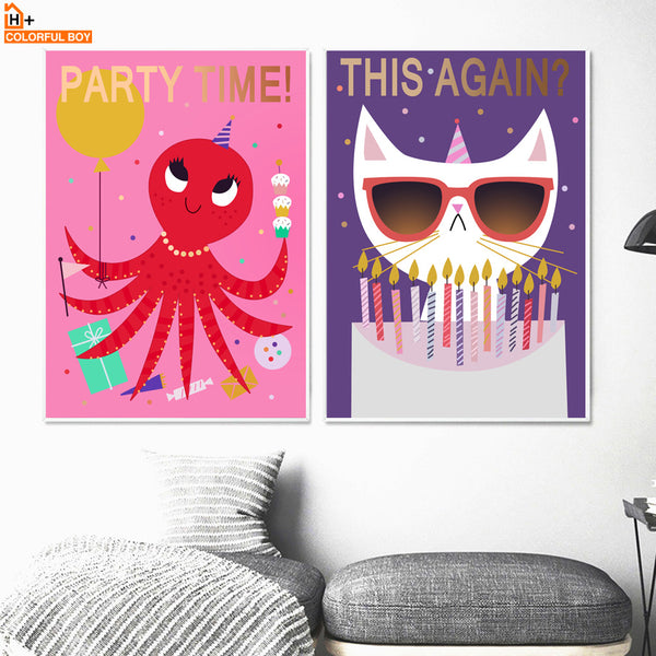 Colorful Giraffe Fish Octopus Wall Art Canvas Painting Nordic Posters And Prints Animals Wall Pictures Baby Kids Room Girl Decor