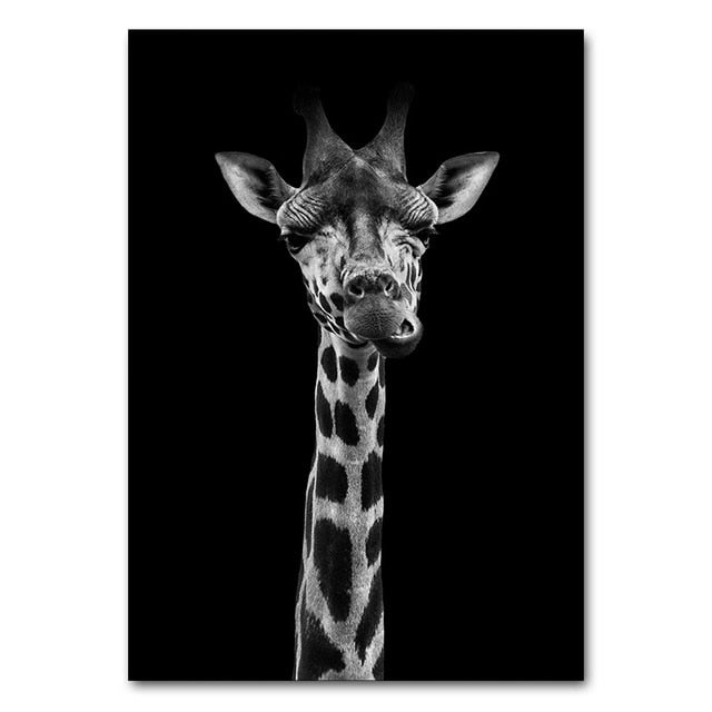 Black and White Animal Canvas Poster Print Zebra Giraffe Wall Art Painting Nordic Decoration Picture Modern Living Room Decor