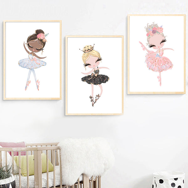 Watercolor Pink Unicorn Swan Girl Crown Flower Nordic Posters And Prints Wall Art Canvas Painting Wall Pictures Kids Room Decor