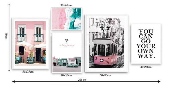 Landscape Canvas Poster Nordic Decoration Pink Beach Bus Wall Art Print Painting Decorative Picture Scandinavian Home Decor
