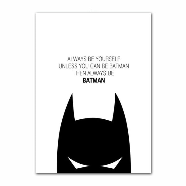 Simple Canvas Painting Prints Home Decor Super Hero Batman Wall Art Modular Hang Black White Pictures Poster Hot Sale Artwork