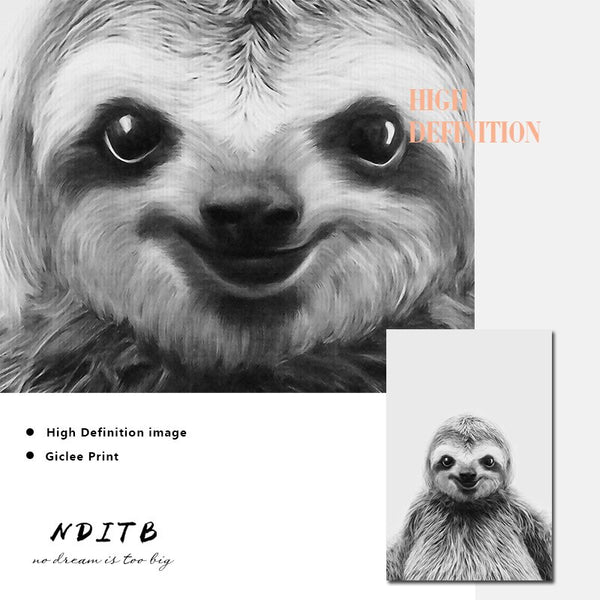 Black White Sloth Canvas Poster Animal Nurser Print Wall Art Painting Nordic Kids Decoration Picture Children Bedroom Decor